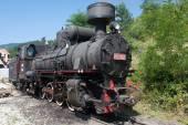 Locomotive of narrow gauge railway — Stock Photo