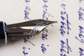 Old fountain pen old manuscript — Stock Photo