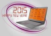 2015 kalendáře laptop — Stock vektor