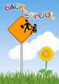 Warning school sign — Stock Vector