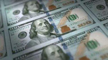 Money Printing 100 US Dollar Bills Loop — Stock Video
