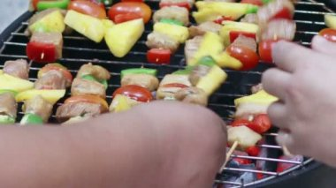 HD Footage of Grilling barbecue — Stock Video