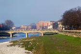 View on Verdi bridge over Parma river, Parma, Italy — Stock Photo