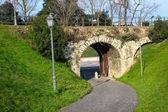 Арка из старой крепостной стены в парке — Стоковое фото