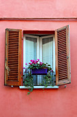 Old window with shutters and flowerpot — Stock Photo