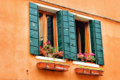 Two windows with flowers in orange colored house, Italy — Stock Photo