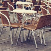 Street cafe tables and chairs — Stock Photo