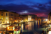 Grand Canal in the night, Venice, Italy — ストック写真
