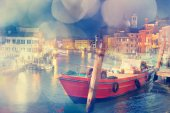 Multiple exposure of Venice, Italy. Dreamy effect was applied. — Stock Photo