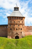 Fortress tower of red brick and wall — Stockfoto