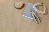 Set of tools under dust — Stock Photo