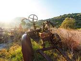 Antique Farm Equipment at sunrise, Italy — Foto de Stock
