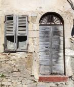 Old vintage green wooden door and window — Stock Photo