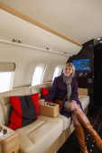 Luxury interior aircraft business aviation — Stock Photo
