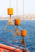 Control knobs winch rescue boat — Stock Photo