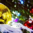 Red and yellow Christmas balls on branch — Stock Photo #61246669