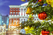Christmas tree and architecture of Moscow — Stock Photo