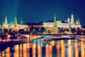 Night view of Moscow Kremlin in Russia — Stock Photo