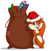 Cartoon christmas squirrel with bag of gift — Stock Vector