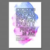 Summer Night Party Flyer — Stock Vector