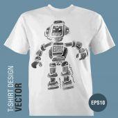 Main-dessin graphique Robot. — Vecteur