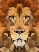 Geometric polygon lion head — Stock Vector