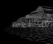 Waterside sketch — Stock Vector