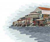 Waterside buildings — Cтоковый вектор
