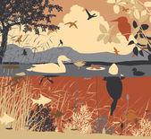 Freshwater pondlife — Stock Vector