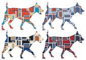 Trotting dog mosaics — Stock Vector