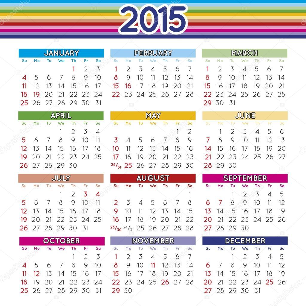 Календарь По Месяцам На 2015 Год Картинка
