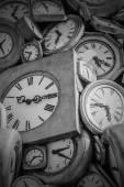 Old clocks black and white — Stock Photo