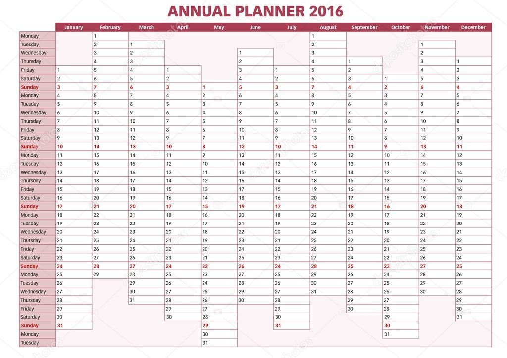 Planer Roczny Angielski 2016 Grafika Wektorowa