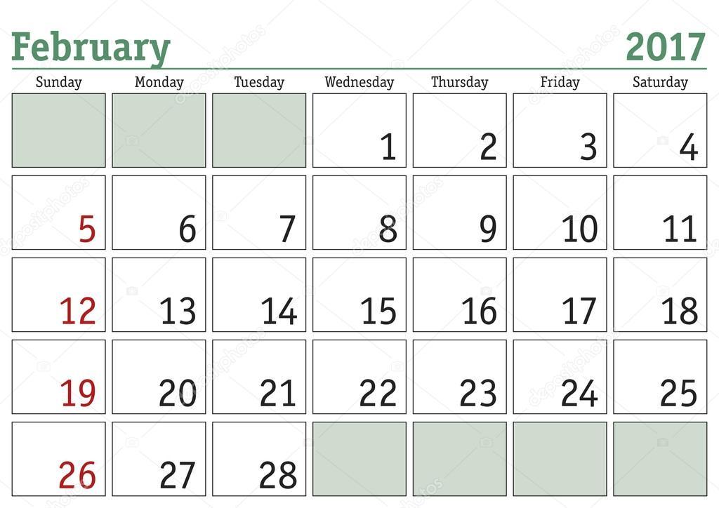Kalender für Februar 2017