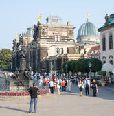 Tourists in Dresden — Stock Photo