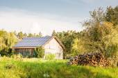 Barn with Solar Panels — Стоковое фото