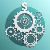 Gears interlocking and dollar sign — Stock Vector