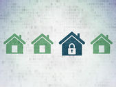 Protection concept: blue home icon on digital background — Stock Photo