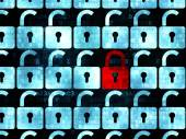 Privacy concept: red closed padlock icon on Digital background — ストック写真