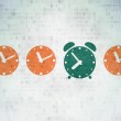 Timeline concept: green alarm clock icon on digital background — Stock Photo #70530295