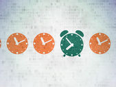 Timeline concept: green alarm clock icon on digital background — Stock Photo