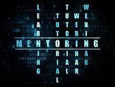 Concetto di formazione: word Mentoring nel risolvere i cruciverba — Foto Stock