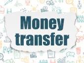 Finance concept: Money Transfer on Torn Paper background — Stock Photo