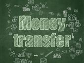 Finance concept: Money Transfer on School Board background — Stock fotografie