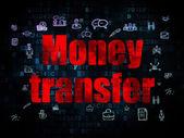 Concetto di finanza: trasferimento di denaro su sfondo digitale — Foto Stock