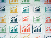 Finance concept: Growth Graph icons on Digital Paper background — Stock Photo