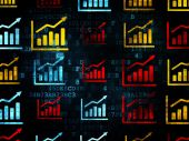 News concept: Growth Graph icons on Digital background — Stock Photo
