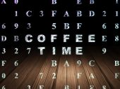 Timeline concept: Coffee Time in grunge dark room — Stock Photo