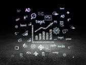 Marketing concept: Growth Graph in grunge dark room — Photo