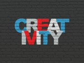 広告の概念: 創造性の壁の背景に — ストック写真